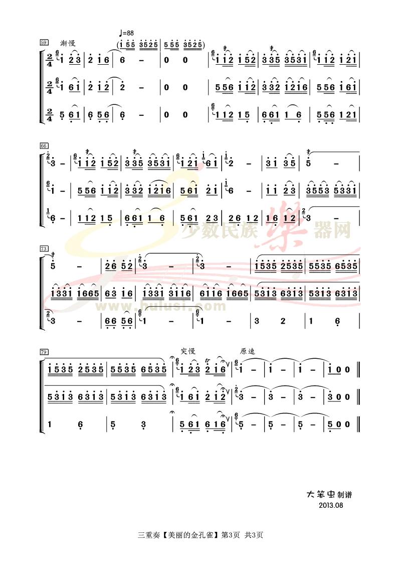 乔志忱配重奏【美丽的金孔雀】葫芦丝曲谱