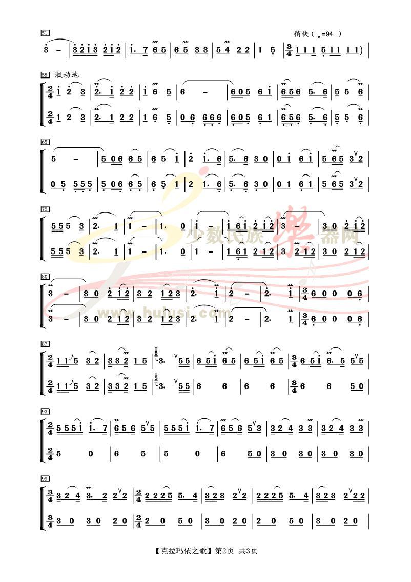 《克拉玛依之歌》葫芦丝合奏曲谱