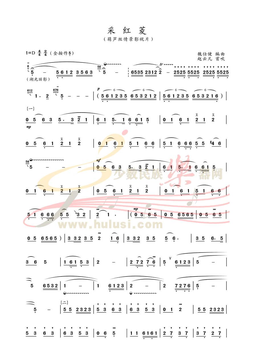 采红菱 葫芦丝曲谱 示范下载
