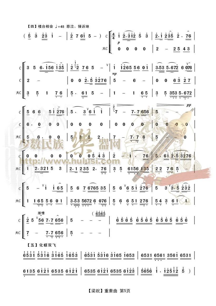 陈祖仁 老师葫芦丝二重奏曲 梁祝 曲谱伴奏示范